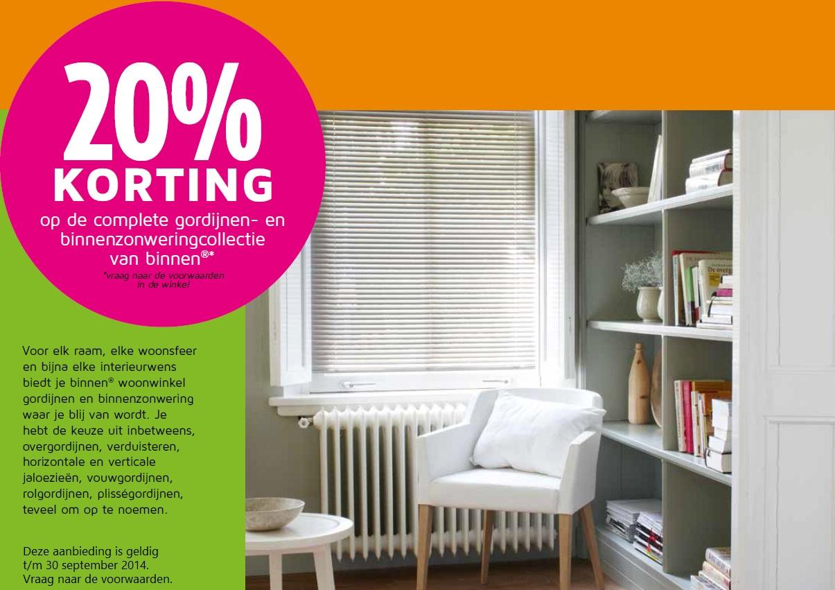 20% korting op binnenzonwering en gordijnen - Winkelen in Waddinxveen